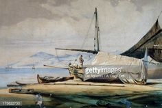 Leudi, Ligurian fishing boat, color lithograph by Ferdinand Perrot