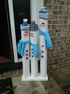 Snowmen from landscaping timbers!