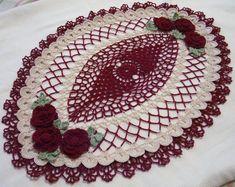 crocheted oval doily burgundy ecru natural handmade by Aeshagirl
