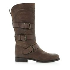 dune black ladies brown multi strap and buckle detail boot, dune shoes online