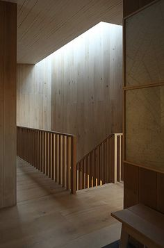 wood lined stair - Dundon Passivhaus - Somerset, UK - Prewett Bizley