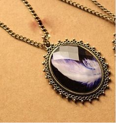 """Euramerican Fashion jewelry """"feather"""" pendant for necklace  12pcs/lot Clothing Boutique necklaces US $8.80"""