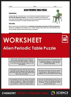 Periodic table of elements jigsaw puzzle periodic table puzzle the alien periodic table puzzle is a 2 page worksheet that allows students to utilize urtaz Image collections