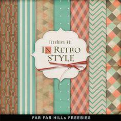 Far Far Hill: Freebies Background Kit - In Retro Style