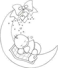 baby (This site has many designs that would be good for embroidery, particularly for children. Baby Embroidery, Hand Embroidery Patterns, Applique Patterns, Embroidery Stitches, Embroidery Designs, Clipart Baby, Colouring Pages, Coloring Books, Motifs D'appliques