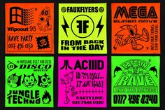 We can't get enough of these dayglo fake rave flyers… Acid House, Graphic Design Posters, Graphic Design Typography, Hang Ten, Design Graphique, Creative Outlet, Sticker Design, Word Art, Retro