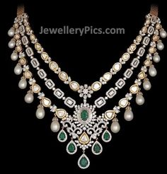 Brilliantly designed necklace with uncut diamonds, emerald, diamonds along with pearl lining Older Post