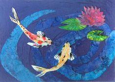 Lily Pond ACEO, water lilies and koi art, meditation pond artwork, original collage, koi pond, koi and lilies, carp fish collage, lotus pond...