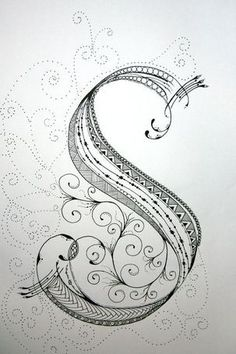 ZenTangle Alphabet Drawing on Bright White Drawing...: