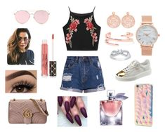 A fashion look from September 2017 featuring cropped cami, ripped jean shorts and suede sneakers. Browse and shop related looks. Ripped Jean Shorts, Cropped Cami, Minkpink, Kenneth Jay Lane, Tiana, Suede Sneakers, Too Faced Cosmetics, Forever 21, Fashion Looks