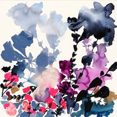 Blue and pink abstract flowers watercolor painting by Jen Garrido Abstract Watercolor, Watercolor And Ink, Watercolor Flowers, Abstract Art, Pink Abstract, Abstract Flowers, Art And Illustration, Illustrations, Deco Floral