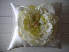 Fresh Green and Cream Rose Ring Bearer Pillow by DaniCalve on Etsy