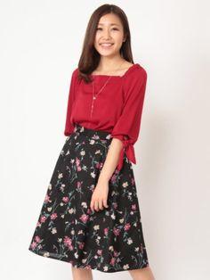 Fabulous Angela フラワープリントフレアスカート