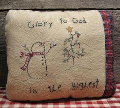 Primitive Christmas Snowman Pillow Primitive Stitchery Pillow