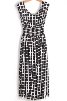 V-Ausschnitt-Kleid aus Chiffon mit Karomuster