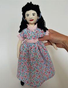 Cloth Art Doll Inspired by the Darling Buds of May, doll named Mariette Darling Buds Of May, Catherine Zeta Jones, Looking Forward To Seeing, Custom Dolls, Black Faux Leather, Wool Yarn, Wearing Black, Pretty Woman, Her Hair