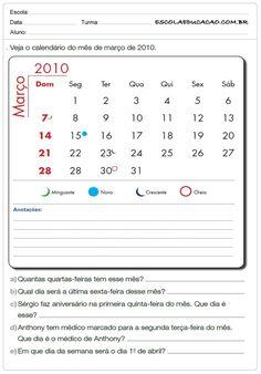 Atividades de Matemática 2º ano - Calendário