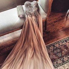 Glamorous Spaghetti Straps Prom Dress,Crystal Beaded Prom Dress,Champagne Prom Dress, Chiffon Formal Dress,Evening Dress,Wedding Party Dress,Maxi Dress,Custom Made Dress