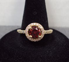 18K Gold Plated Red CZ Halo Cocktail Ring Size 9 by GrandmasTrove