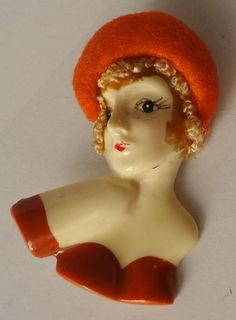 Vintage Brooch Celluloid Lady Pin with a Felt Hat 1930's