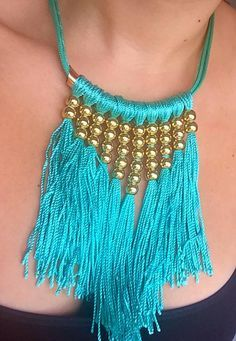 Blue Statement Neckl Blue Statement Necklace - My Glam Styles - 1 Thread Jewellery, Tassel Jewelry, Textile Jewelry, Fabric Jewelry, Beaded Jewelry, Handmade Jewelry, Jewellery Diy, Fabric Necklace, Diy Necklace
