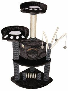 Your cat will enjoy this durable cat tree and bed furniture. With a hanging bed and scratch posts covered with natural sisal rope, your cat can lounge and play in this cat furniture for hours. Cat Tree House, Cat Tree Condo, Cat Condo, Tree Furniture, Condo Furniture, Cat Activity, Sisal Rope, Cat Scratcher, Cat Supplies