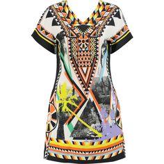 Just Cavalli Printed crepe mini dress ($380) ❤ liked on Polyvore featuring dresses, white, mini dress, white loose dress, loose dress, short dresses and white mini dress