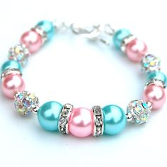 Bridesmaid Jewelry, Aqua and Pale Pink Pearl Rhinestone Bracelet, Pastel Jewelry, Spring Wedding, Bridesmaid Gifts, Bridal Party Gifts