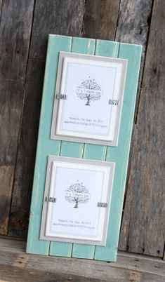 picture frame distressed wood double mats holds 2 5x7 photos beach teal light gray white