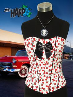 Rockabilly Cherry corset in white by MissHapp on Etsy, $78.00