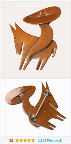 Copper Mexican man Brooch - Sombrero Donkey - Otto R. Bade - Orb signed Handwought - Mid century Mod Pin https://www.etsy.com/serendipitytreasure/listing/495410085/copper-mexican-man-brooch-sombrero?ref=listing_published_alert