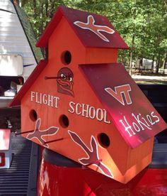 Maroon and Orange Hokie Bird Flight School Va Tech Football, Virginia Tech Football, Virginia Tech Hokies, Enter Sandman, Diy Christmas Ornaments, Amazing Gardens, Bird Houses, Home Projects, Dyi