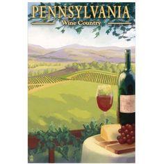 Pennsylvania Wine Country: Retro Travel Poster by Eazl Fine Art Print, Size: 16 x 24, Multicolor