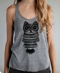 Large Vintage Owl graphic Girls Ladies Heathered Tank Top Shirt silkscreen screenprint Alternative Apparel. $20.00, via Etsy.