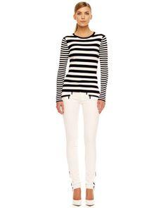 MICHAEL Michael Kors Ribbed Striped Sweater & Zipper-Cuff Skinny Jeans - Michael Kors