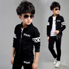 2017 New Spring Autumn Baby Boys Clothing Set Black Boy Sports Suit Set School Children Outfits Tracksuit Clothes Years Baby Outfits, Kids Outfits Girls, Boys Clothes Style, Baby Boy Clothing Sets, Kids Winter Fashion, Kids Fashion, New Look Boys, Jogging Style, Boys Tracksuits