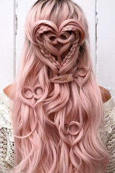 Summer Hairstyles Valentine's Day Hairstyles valentines day hairstyles on long pink hair half up half down with textured heart shapes Valentine's Day Hairstyles, Baddie Hairstyles, Creative Hairstyles, Headband Hairstyles, Pretty Hairstyles, Wedding Hairstyles, Rose Hairstyle, Homecoming Hairstyles, Casual Hairstyles