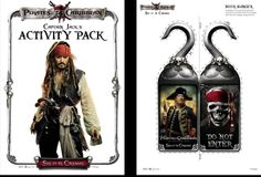 Pirates of the Caribbean activity pack cover and door hanger