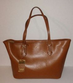 LAUREN by Ralph Lauren Tan/brown Newbury Zip Leather Shoulder Bag $228  Medium #LaurenRalphLauren #BackpackBaguetteBarrelBagBeachBagBucketBagClutchCosmeticBagCrossbodyDoctorEveningBagSatchel
