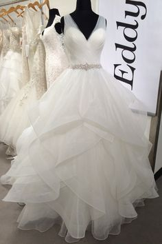 eddy k wedding gown. Layers of tulle w/ horsehair trim add light as air volume to this sweet ballgown