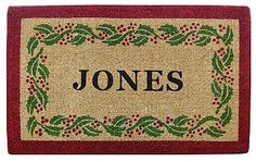 NEDIA Enterprises Personalized Holly Ivy Border Coir Mat | seattleluxe.com