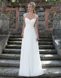 Sincerity brautkleid style 3905 Beaded cap sleeves accent this sweetheart neckline Cinderella ball gown with a ruched chiffon bodice, natural waistline and beaded back.