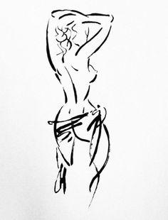 Original Nude Drawing - Bathroom Art, Bedroom Art, Bathroom Decor - Custom Anniversary Gift - Charcoal Nude Sketch (sample displayed)