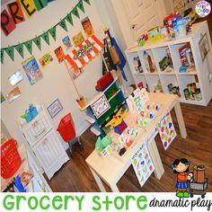 Grocery Store Dramatic Play for Preschool, Pre-k, and Kindergarten Body Preschool, Preschool Centers, Preschool Themes, Kindergarten Classroom, Preschool Activities, Nutrition Activities, Preschool Writing, Kindergarten Reading, Classroom Decor