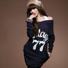 Delicate Loose Off Shoulder Long Bat Sexy Korean New Arrival T-shirt: dressyours.com