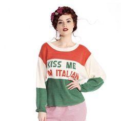 Wildfox 'Kiss Me I'm Italian' Sweater NWT Wildfox Couture 'Kiss Me I'm Italian' Sweater, Size Medium. 100% acrylic. ✨No Trades/PP/Holds✨ Wildfox Sweaters