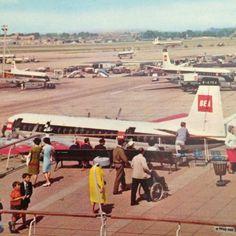 BEA Vintage Postcard London Airport British European Airways Plane Tarmac Unused