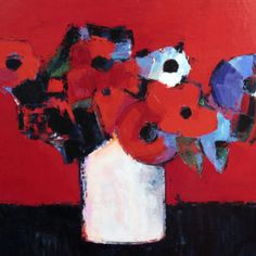 Vase with Flowers on Red, 2011 by W. Dieter Zander
