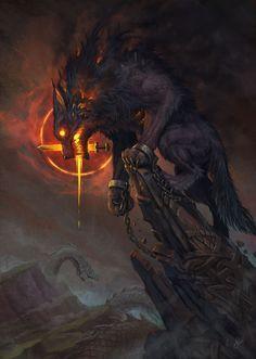 Ideas Dark Art Mythology Fantasy For 2019 Dark Fantasy Art, Fantasy Artwork, Fantasy Kunst, Fantasy Wolf, Fantasy Dragon, Fantasy Monster, Monster Art, Fenrir Tattoo, Hellhound Tattoo