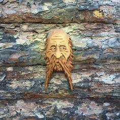 Wood spirit, biker dude, wood carving carved by scott longpre.
